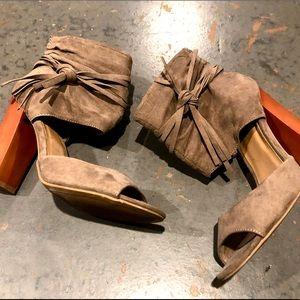 Bamboo open toe heels